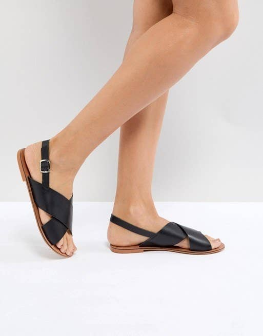f7f8bddba097 Crisscross leather sandals that are patiently waiting for you to book that  beach vacation