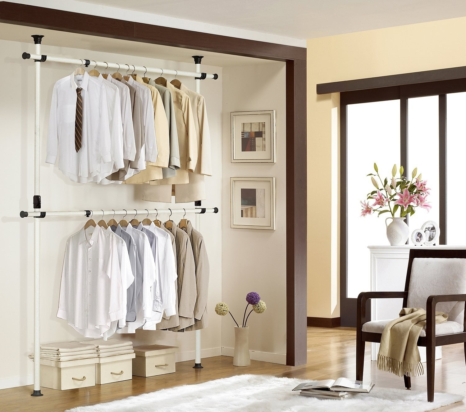 A closet with the adjustable clothes rack installed
