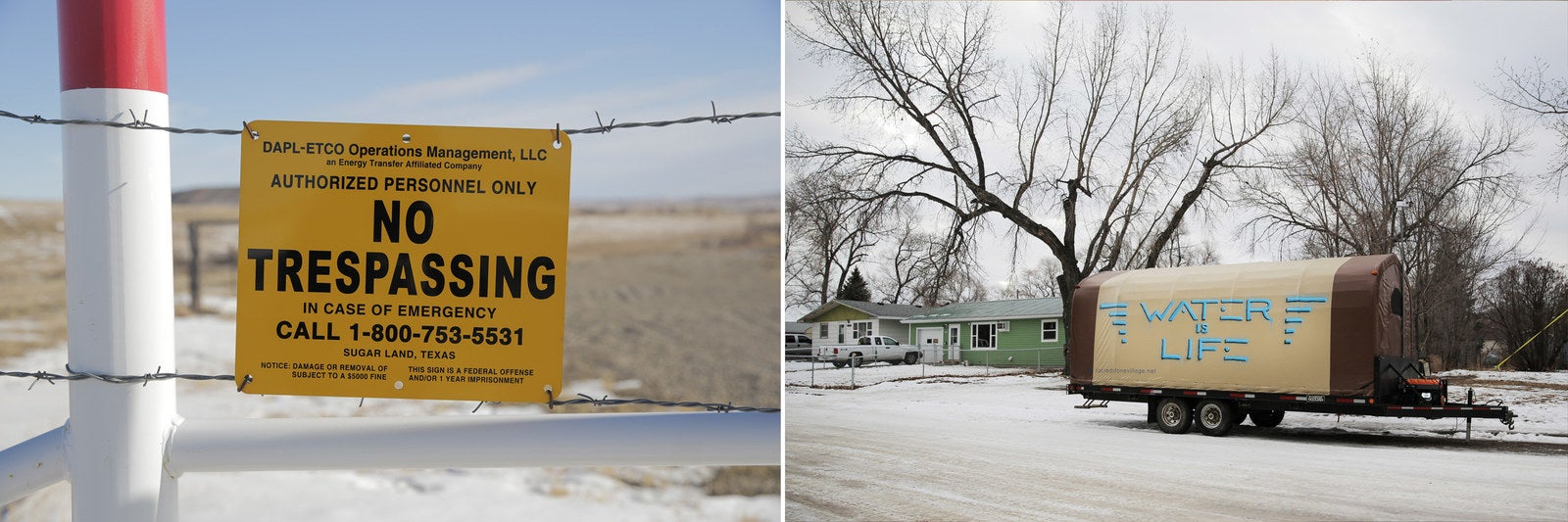 Left, a no-trespassing sign near where the Standing Rock encampment had been outside of Cannon Ball, N.D. Right, a trailer designed by is parked near the home of Ladonna Brave Bull Allard.