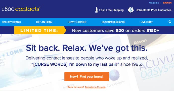 64dbbe01ffbb 1-800 Contacts makes reordering your contacts super simple — they'll even  email you with a nudge. Like,