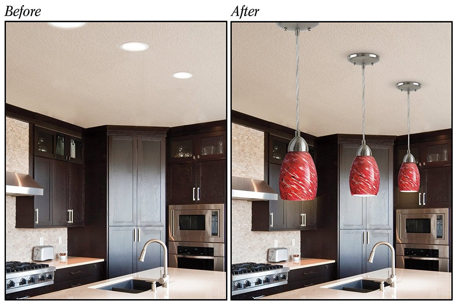 A before and after photo showing the changes made with the conversion kit in someones kitchen
