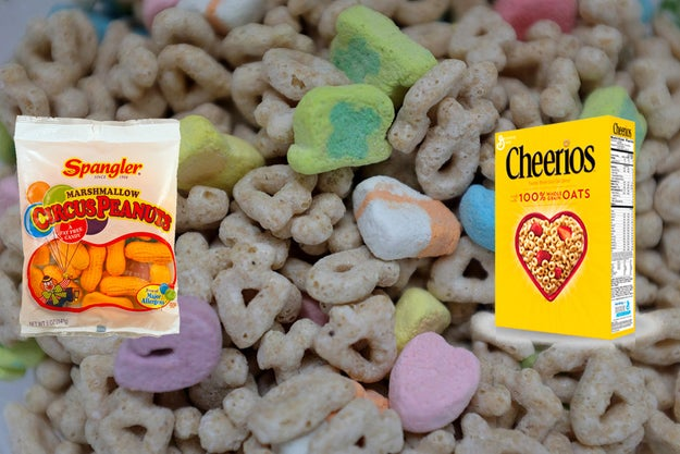 The idea for Lucky Charms came when General Mills employee John Holahan put pieces of circus peanuts in his Cheerios, discovering a special marshmallow + cereal combination.
