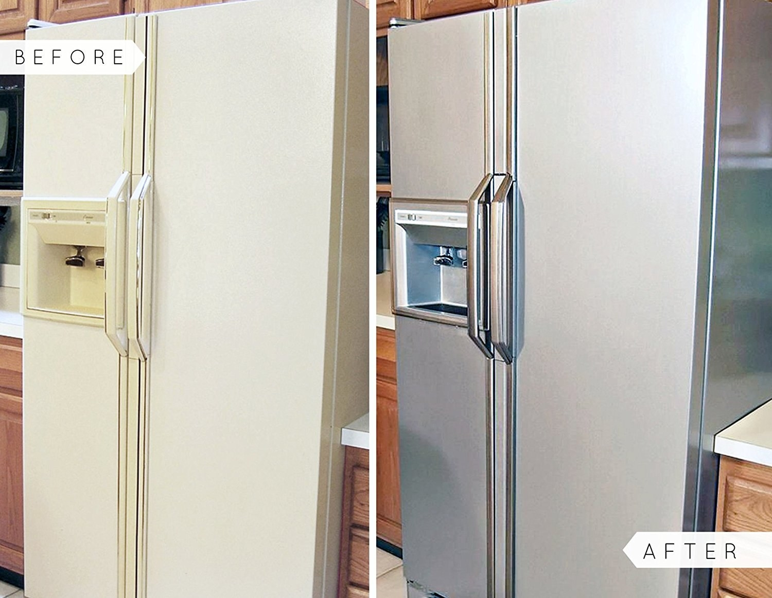 A before and after photo showing their fridge updated with the chrome paint