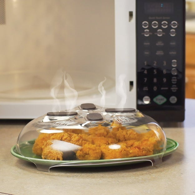 A splatter guard to keep your microwave safe from your latest midnight snack innovation.
