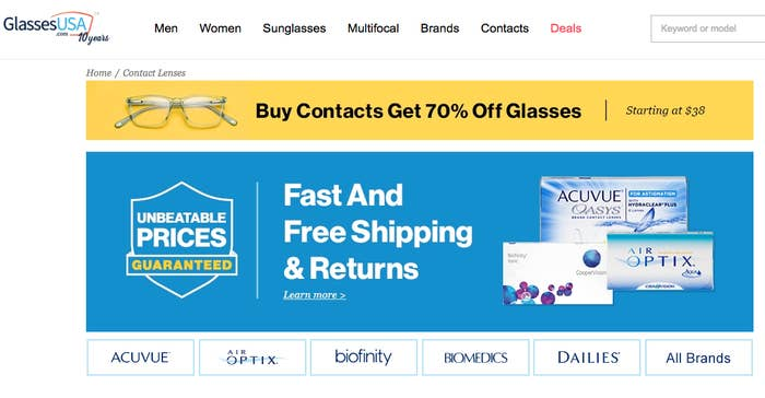 e08986bcd31c Glasses USA offers great bundle deals on contacts and glasses. For example,  you'll get 70% off glasses when you buy lenses.