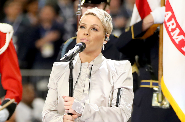 Pink Sang The National Anthem While She Had The Flu And People Are Freaking Impressed