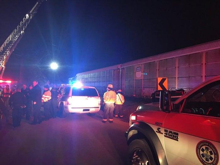 The scene of the derailment, near Charleston Highway and Pine Ridge Road.