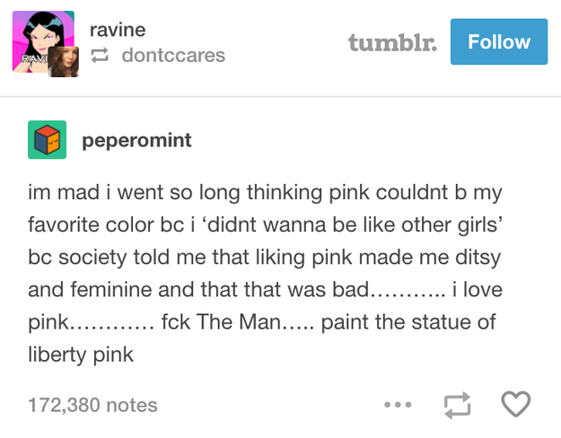 On learning to love pink again: