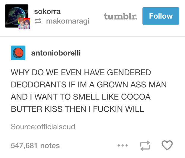 On just wanting to smell nice: