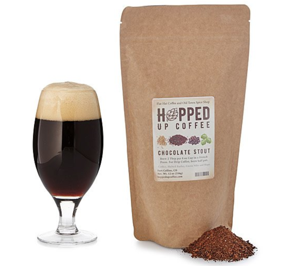 A bag of beer-inspired coffee featuring notes of hops and barley.