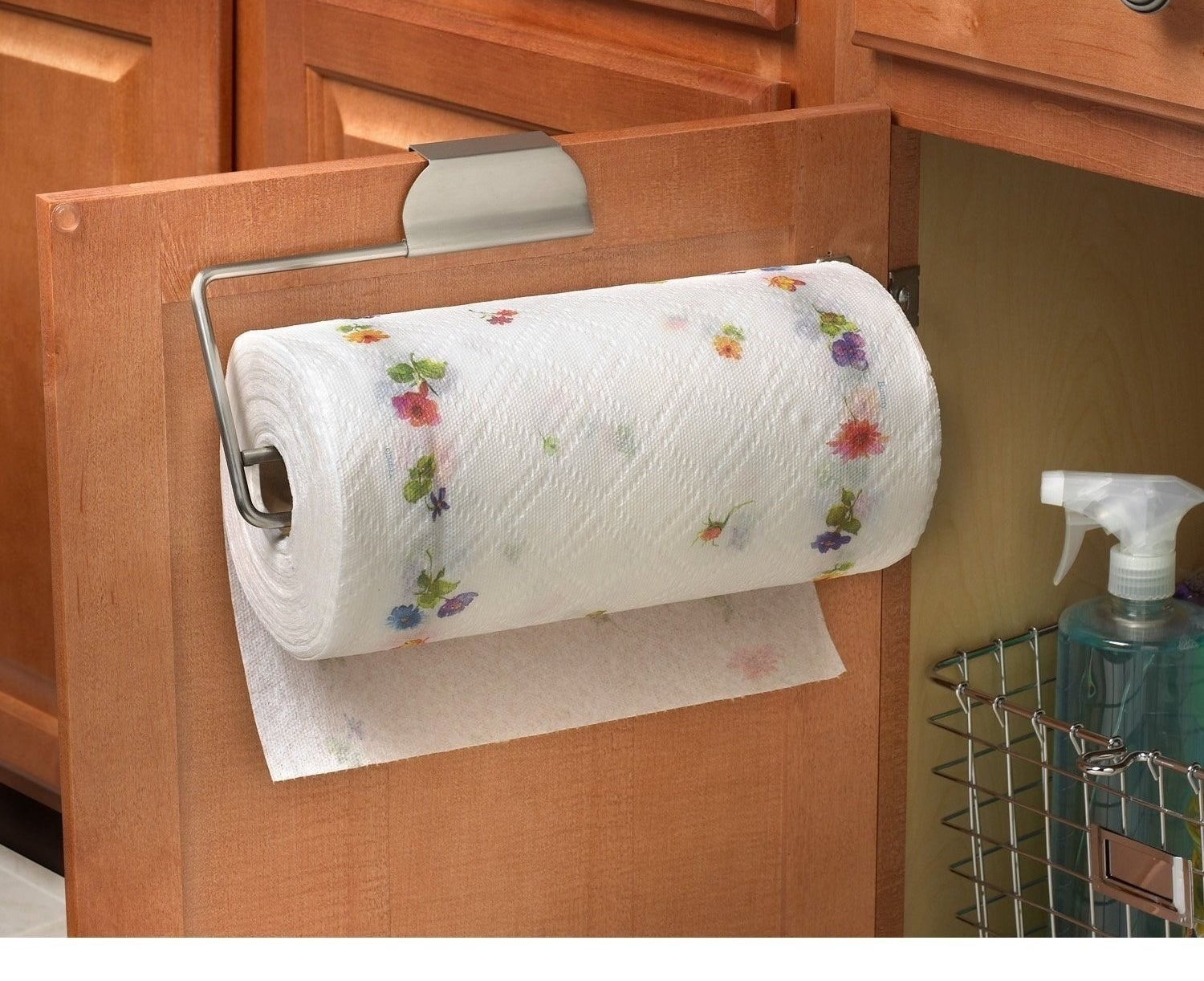 An over-the-door paper towel holder to free up some much-needed counter space.