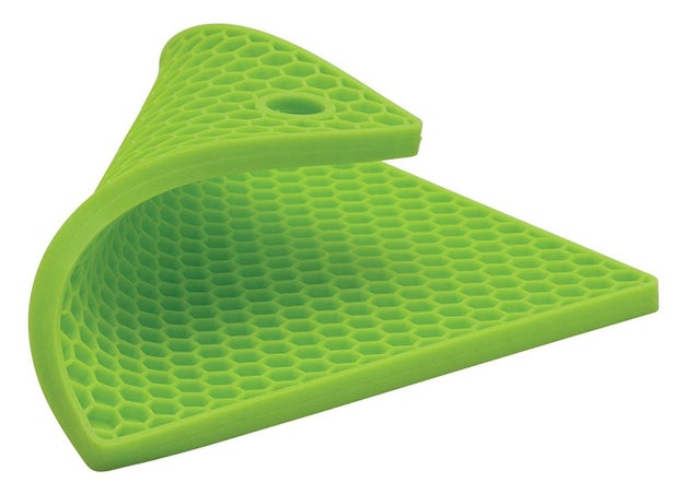 A silicone, 7x7-inch honeycomb trivet with a non-slip surface that diffuses heat quicker than boring, flat ones.