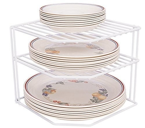 A corner organizer for plates to maximize storage space.