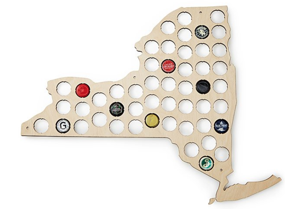 A bottle cap collection board in the shape of your favorite state to show off all the microbrews that have graced your hipster lips.