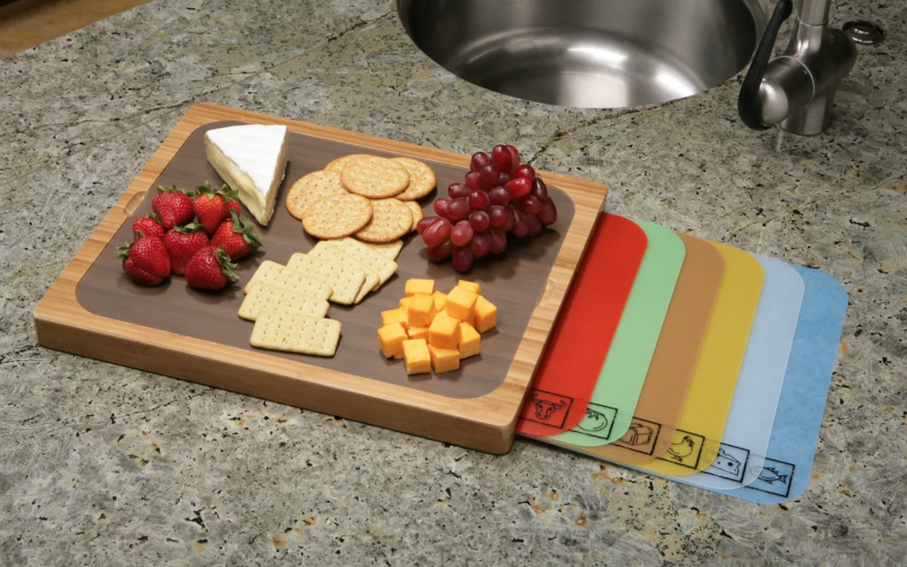 A bamboo cutting board with seven color-coded mats that are also easy to clean.