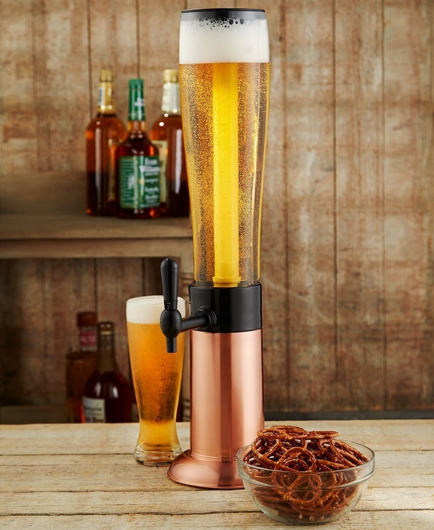 A beer tower for entertaining that holds 3 quarts of your favorite brew.