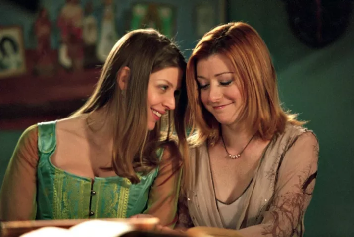 "The show: A drama about vampires and demons that fucking rocked.""Her relationship development with Tara [above left] was beautiful and on point. It felt like they came together naturally without compromising who Willow was as a person, and I still ship them forever.""– Suggested by katsby0105"