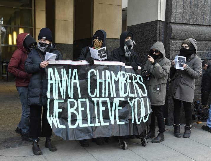 Supporters of Anna Chambers outside Kings County Supreme Court in Brooklyn.
