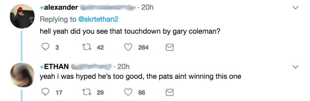 """""""Yeah i was hyped he's too good, the pats aint winning this one,"""" the user responded."""