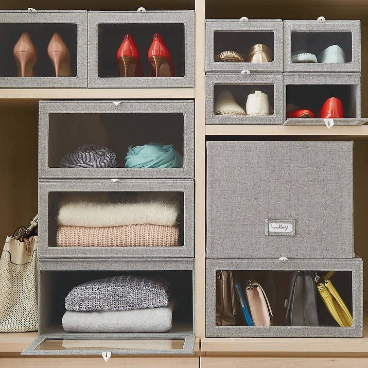 Get the shoe boxes from The Container Store for $14.99 and the sweater boxes for $29.99.