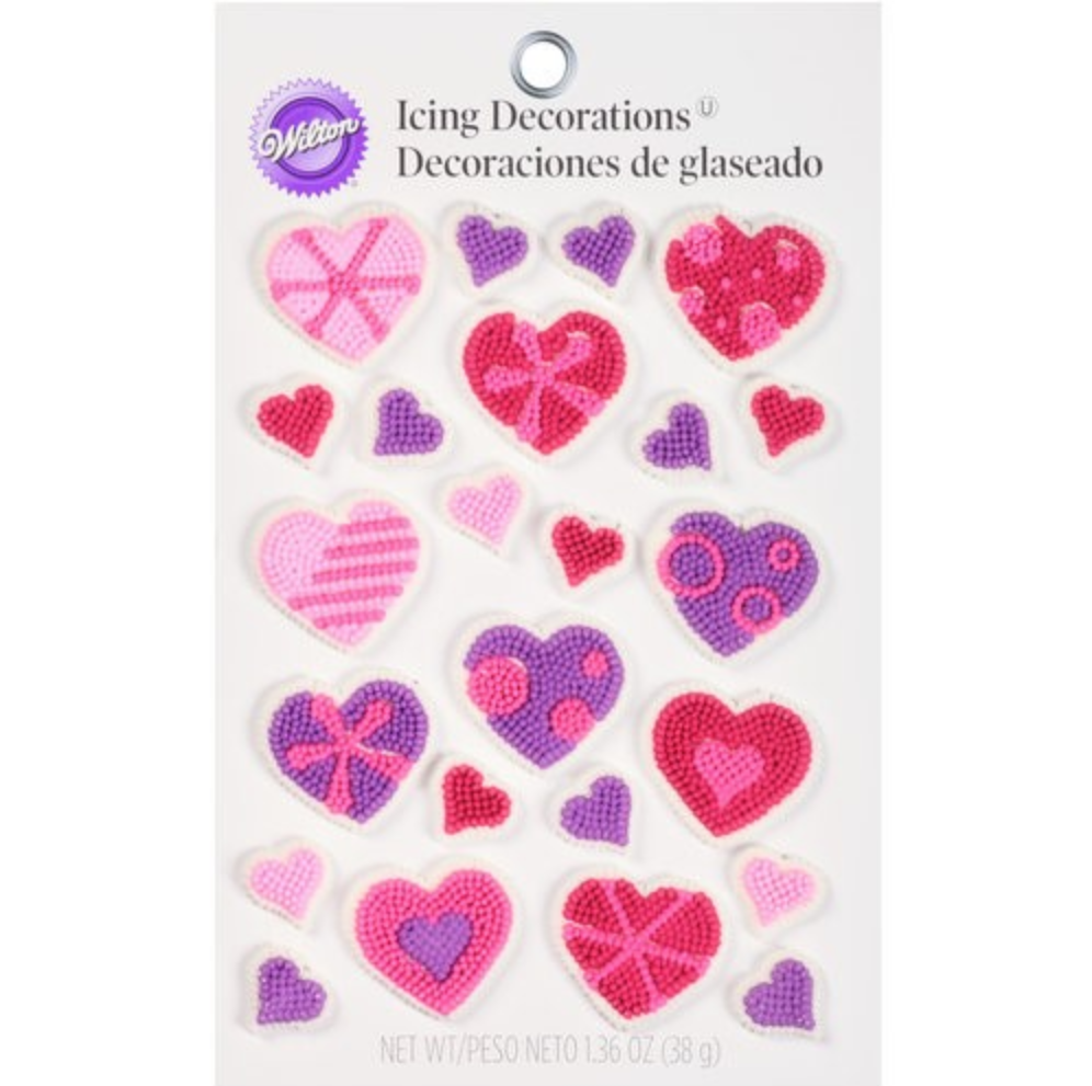 A set of icing decorations that are completely edible and perfect for Valentine's Day creations.