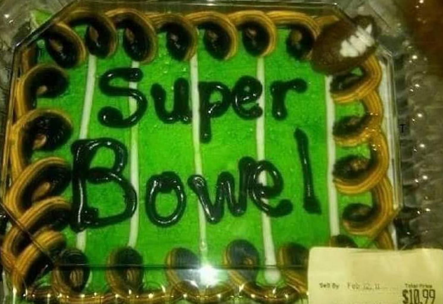 a superbowl cake spelled super bowel