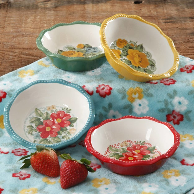 A set of four mini pie plates that look stylishly vintage and are super easy to clean.