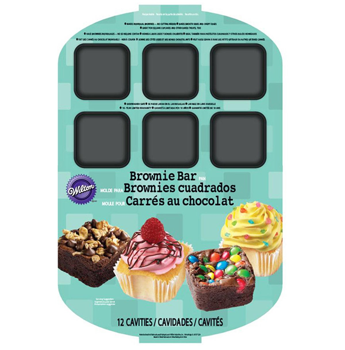 A pan made especially for brownie bars with 12 separate cavities for ultimate sweetness.