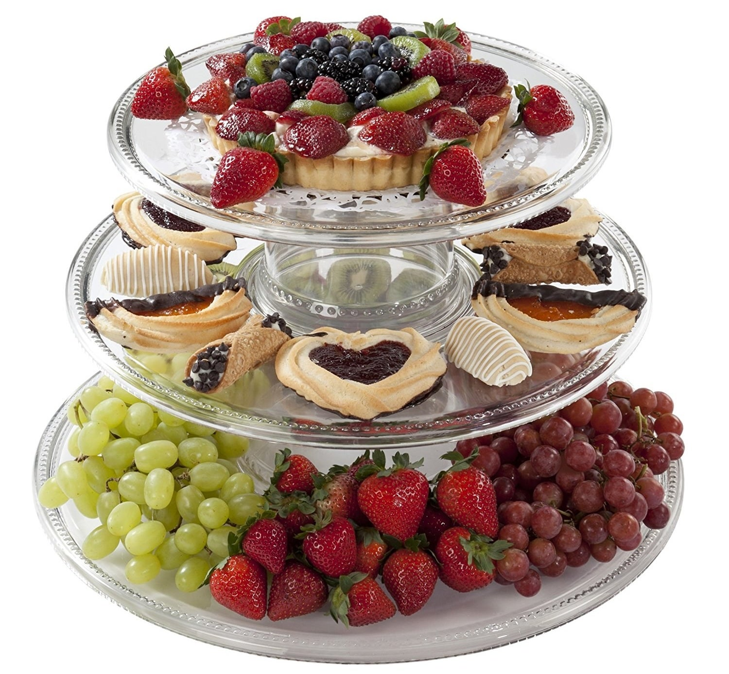 A creative three-tier tower that disassembles and can be used as separate serving bowls and platters.