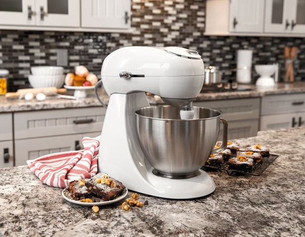 A four-quart stand mixer with 400 watts of power for pro-level mixing that can handle the thickest dough.
