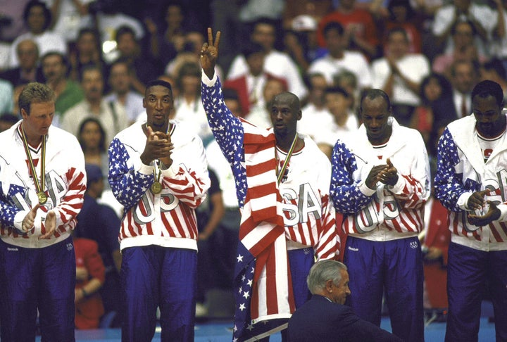 """The """"greatest collection of basketball talent on the planet"""" takes home gold in 1992."""
