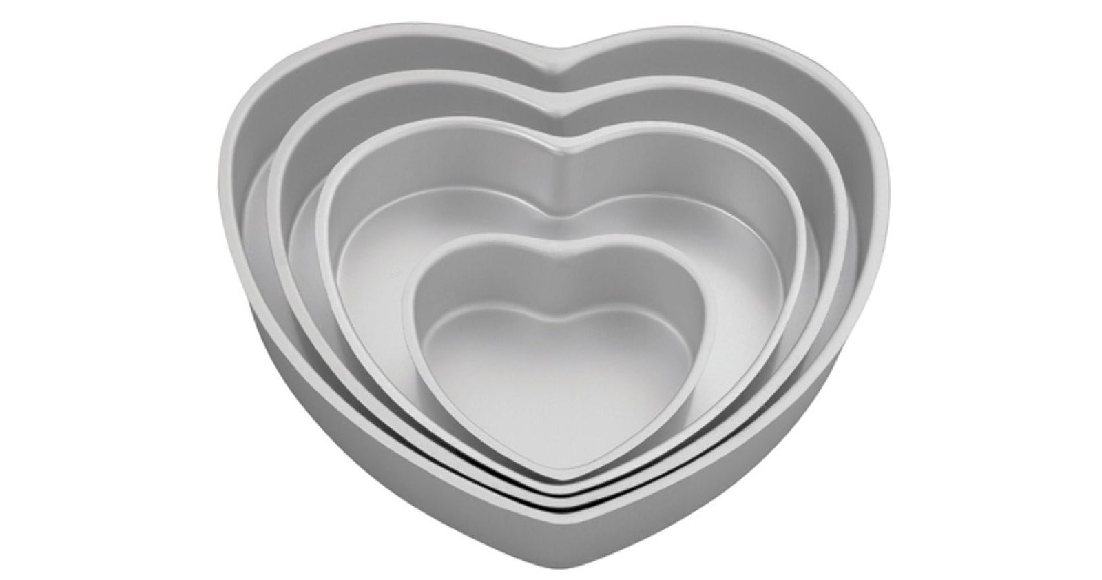 A four-piece heart pan set constructed from extra-heavy-gauge aluminum for pro-level results.