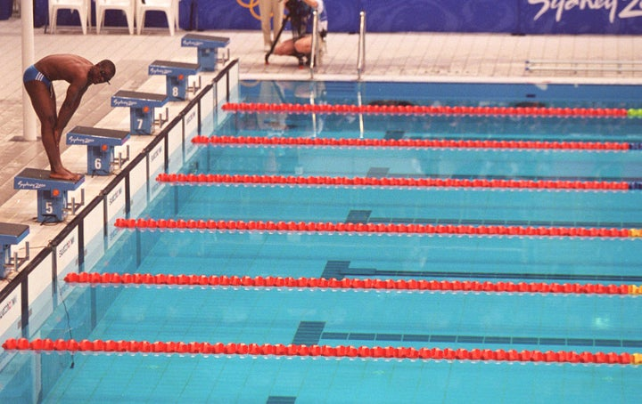 Eric Moussambani of Equatorial Guinea competes alone in 2000 for the first time in an Olympic-size pool.