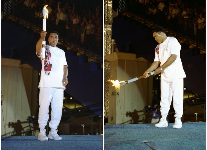 Muhammad Ali returns with the Olympic flame in 1996.