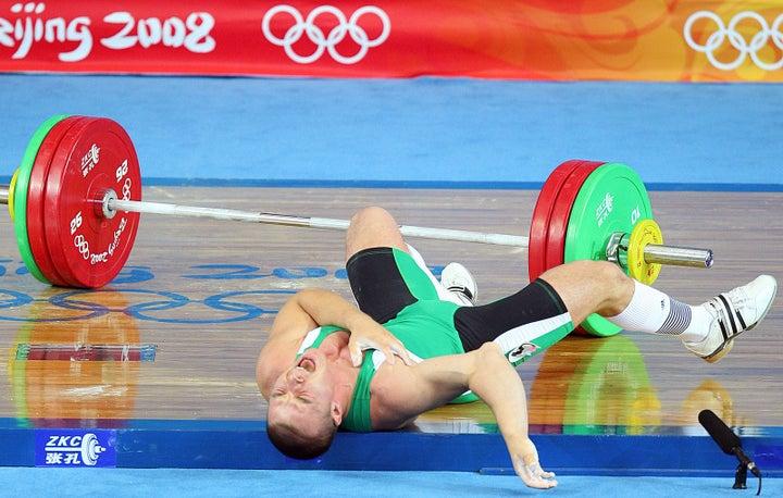 Weightlifter Janos Baranyai of Hungary experiences a horrific injury in 2008.