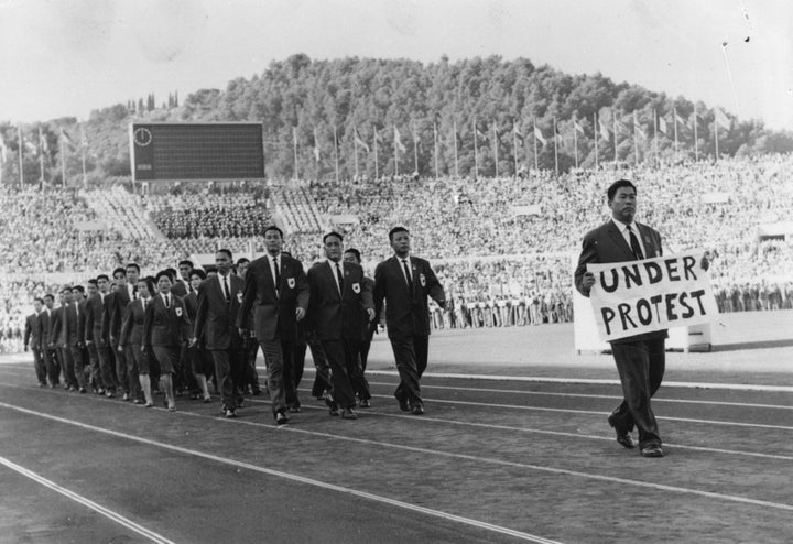 The Olympic team from Formosa (Taiwan) take a stand in 1960.