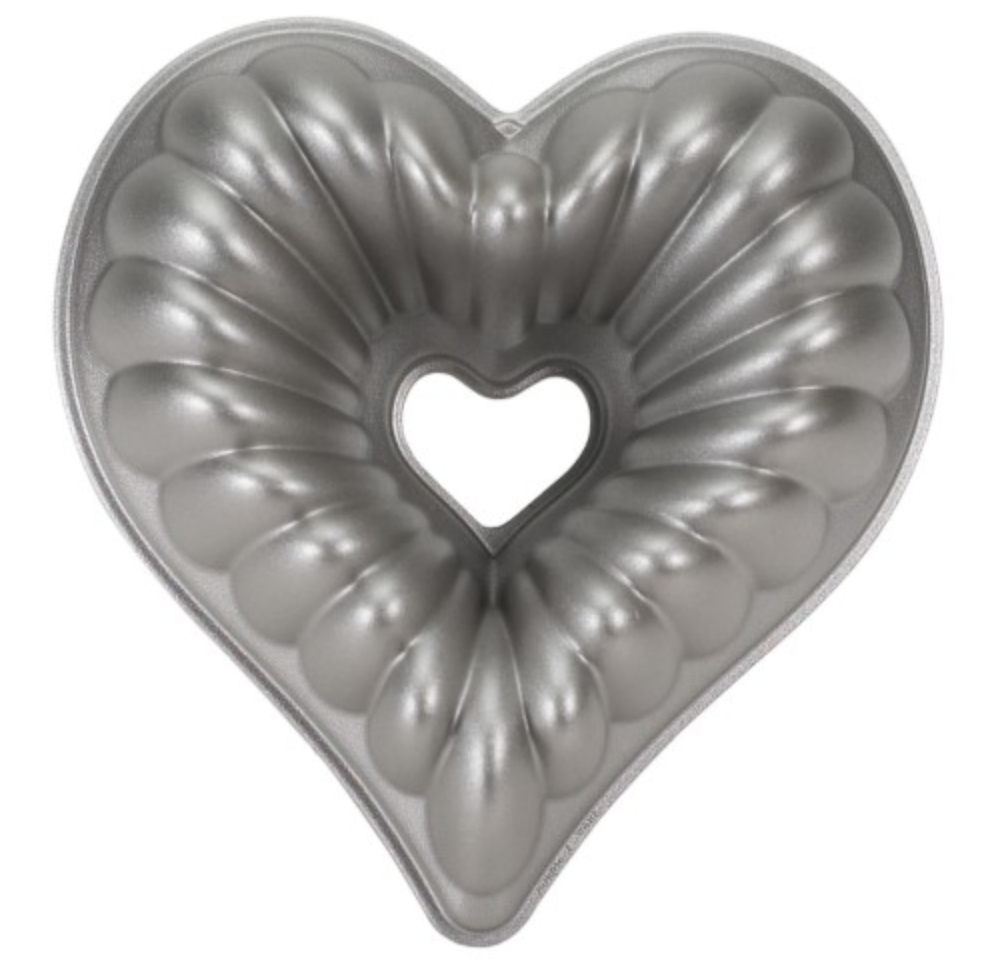 A heart-shaped bundt pan with a heat-reflective exterior for uniform browning.