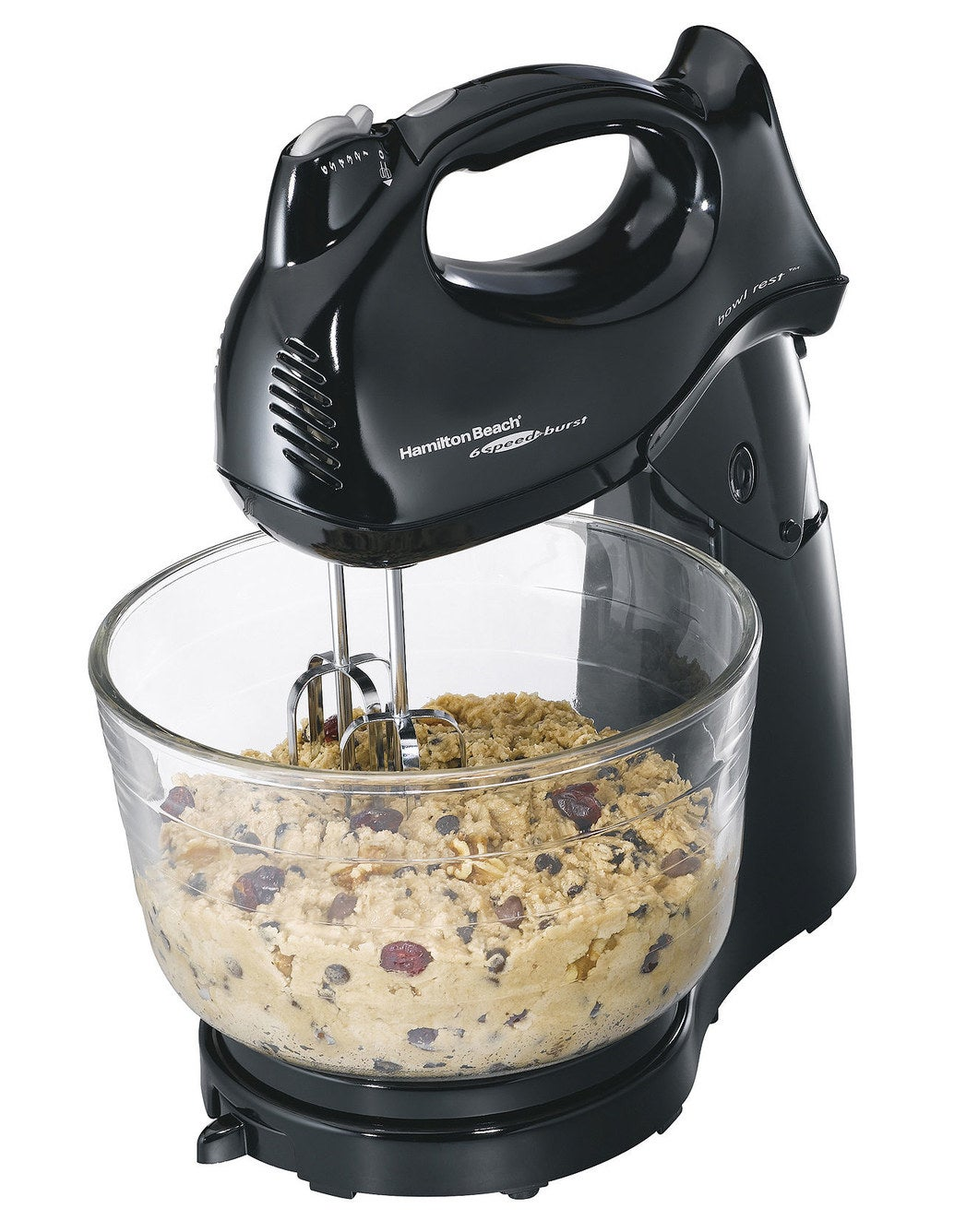 A four-quart stand mixer that transforms into a six-speed hand mixer with beaters, dough hooks, and a whisk attachment.