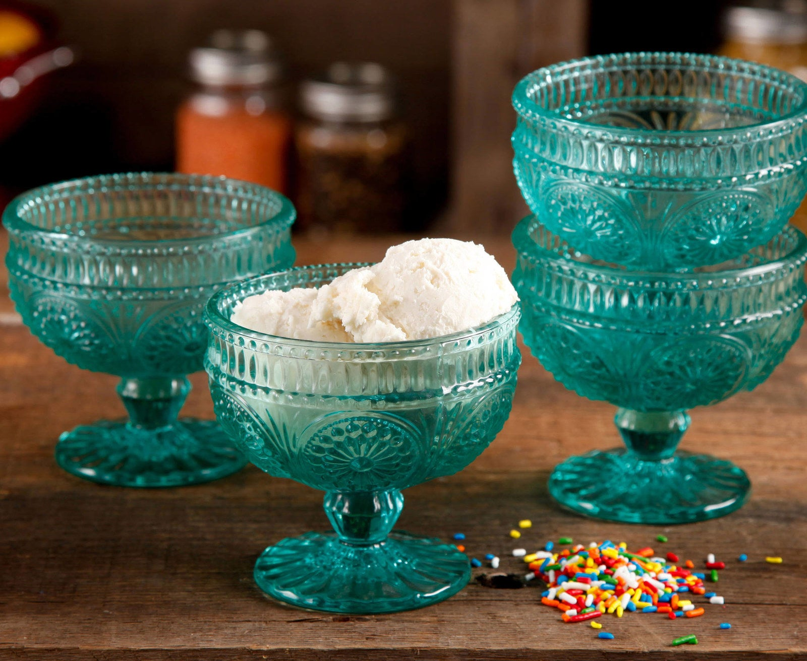 A set of four glass sundae cups that are so elegant you'll want to use them for everything.