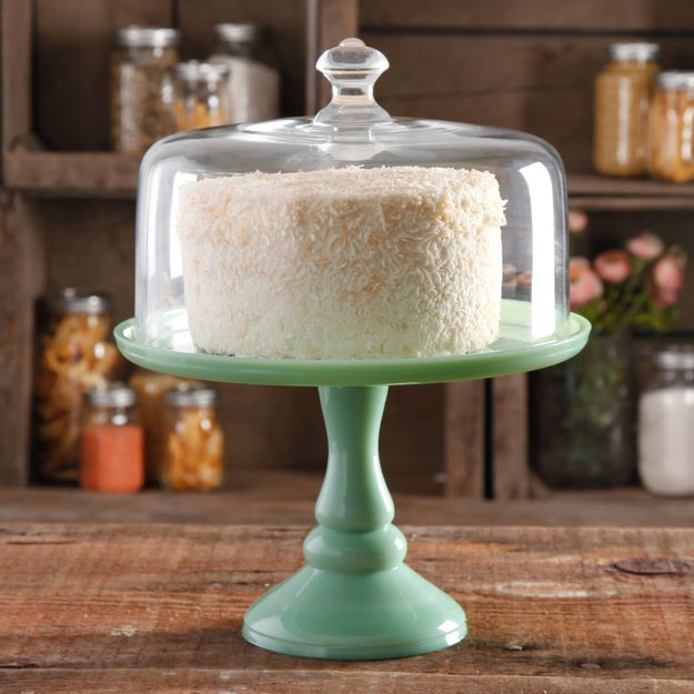 A 10-inch cake stand with a glass cover that looks fancier than anything else on your kitchen counter.