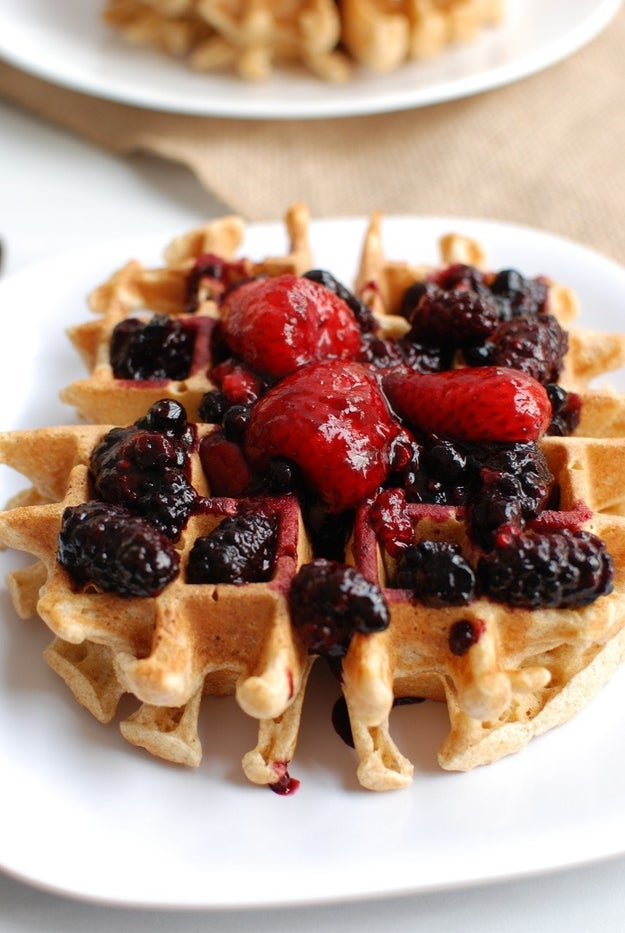 Easy Einkorn Waffles With Mixed Berry Topping