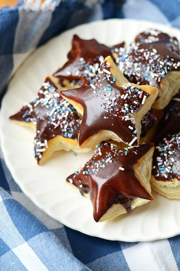 Galaxy Puff Pastry Doughnuts With Chocolate Starglazing
