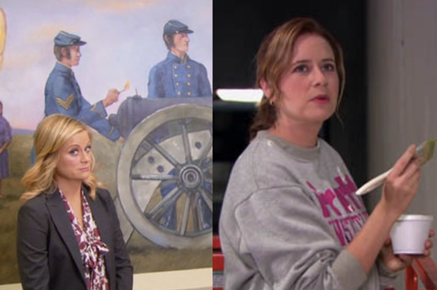 Leslie would hire Pam to paint over all the problematic murals in Pawnee City Hall.