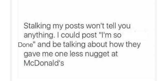 But really, the only thing that you hate about nuggets is the betrayal.