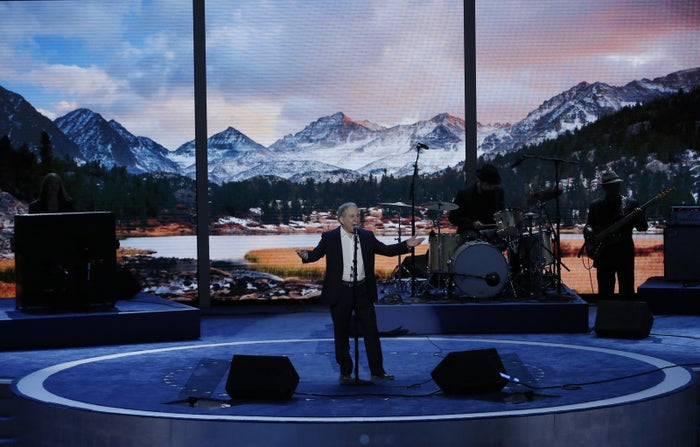 Singer Paul Simon performing at the Democratic National Convention
