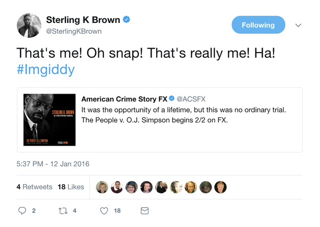 When Sterling K. Brown was beside himself seeing a poster with his face on it in 2016: