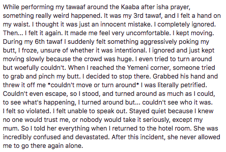 "She started her post by apologizing in case she hurt anyone's ""religious sentiments"", before describing how she had been sexually harassed and assaulted while making pilgrimage to Islam's most holy city."