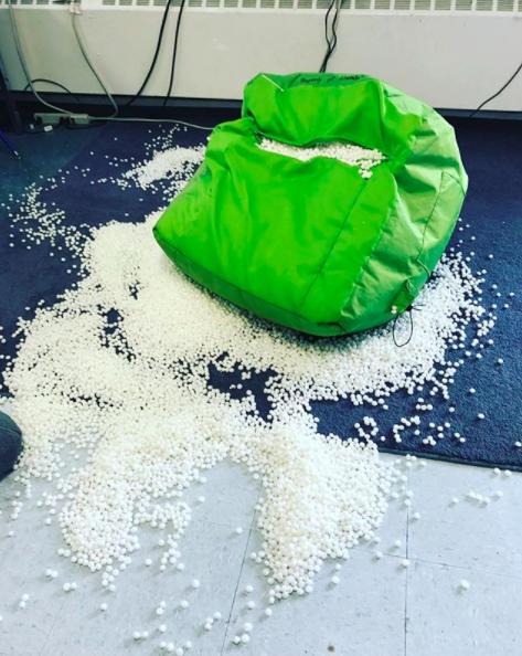This teacher failed at refilling the bean bag chair: