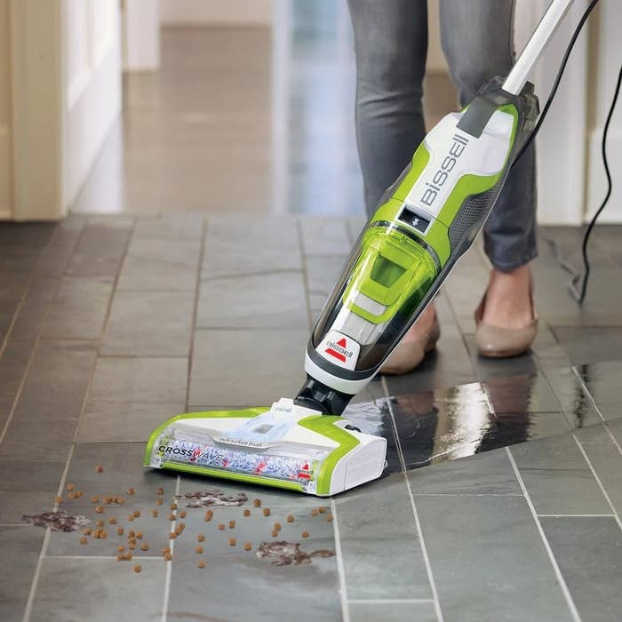 "Features: dual-action brushroll to simultaneously mop and pick up dry debris, smart-touch controls, moisture-control trigger, dirt tank capacity 20.6 oz.,water tank capacity 28 oz. (multi-surface cleaning formula included)Promising review: ""Before I found this little beauty, every single day I would sweep, dust mop, and wet mop my tile floors trying to keep up with the hair our two dogs shed everywhere possible (I swear they do it on purpose)! It was a good three hours every day, and it never got the hair all picked up. With the Crosswave, one pass in the afternoon and all the hair is up, and the floors look and smell fantastic. It's also really wonderful in my son's bathroom (if you have sons, you know how funky they can get). I also use it on bedroom carpets a couple times a week, and our bedrooms smell so fresh. I recommend this to anyone who will listen – my best friend got one and loves it as well. You won't regret it!"" –RTGet it from Kohl's for $219.99 (on sale, down from $299.99)."