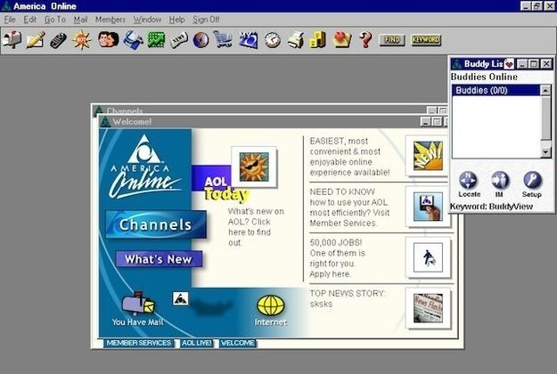 A screenshot of the AOL homescreen in the late 90s